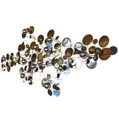 Chrome Raindrop Wall Sculpture by Curtis Jere 70's