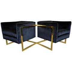 "Pair of Brass Milo Baughman "" T "" Bar Lounge Chairs"