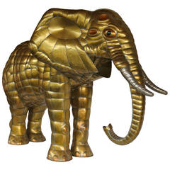Large Brass Elephant Sculpture by Sergio Bustamante