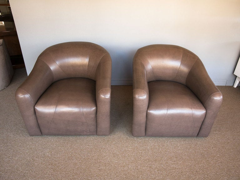 Pair Of Swivel Lounge Chairs By A Rudin Of Los Angeles At