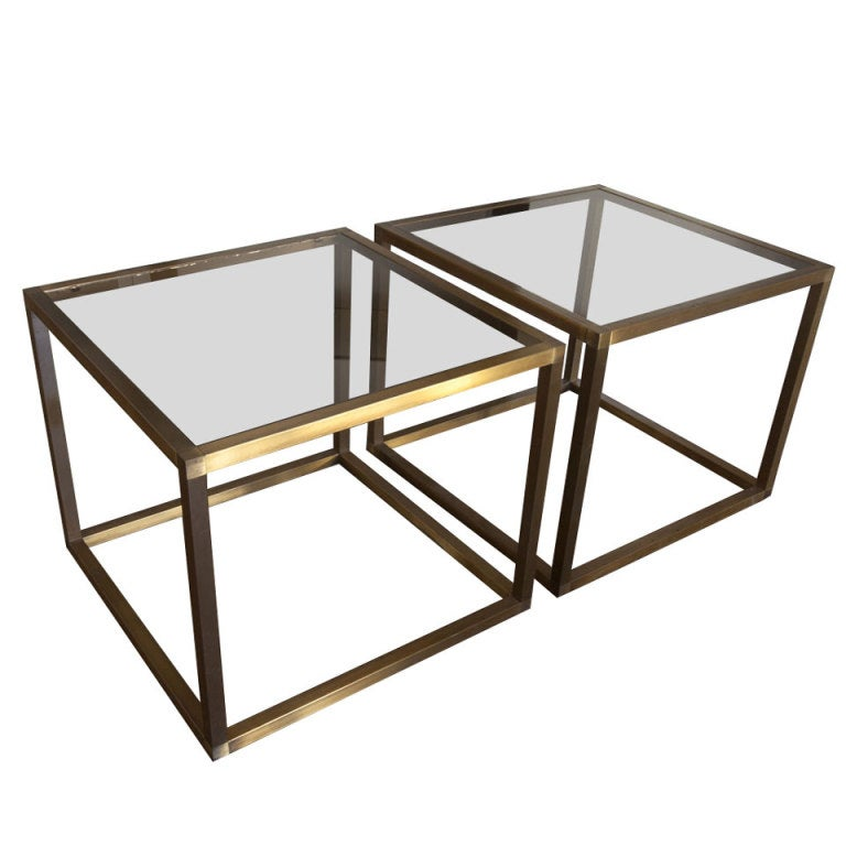 Pair Smoked Glass And Brass Open Cube Tables At 1stdibs