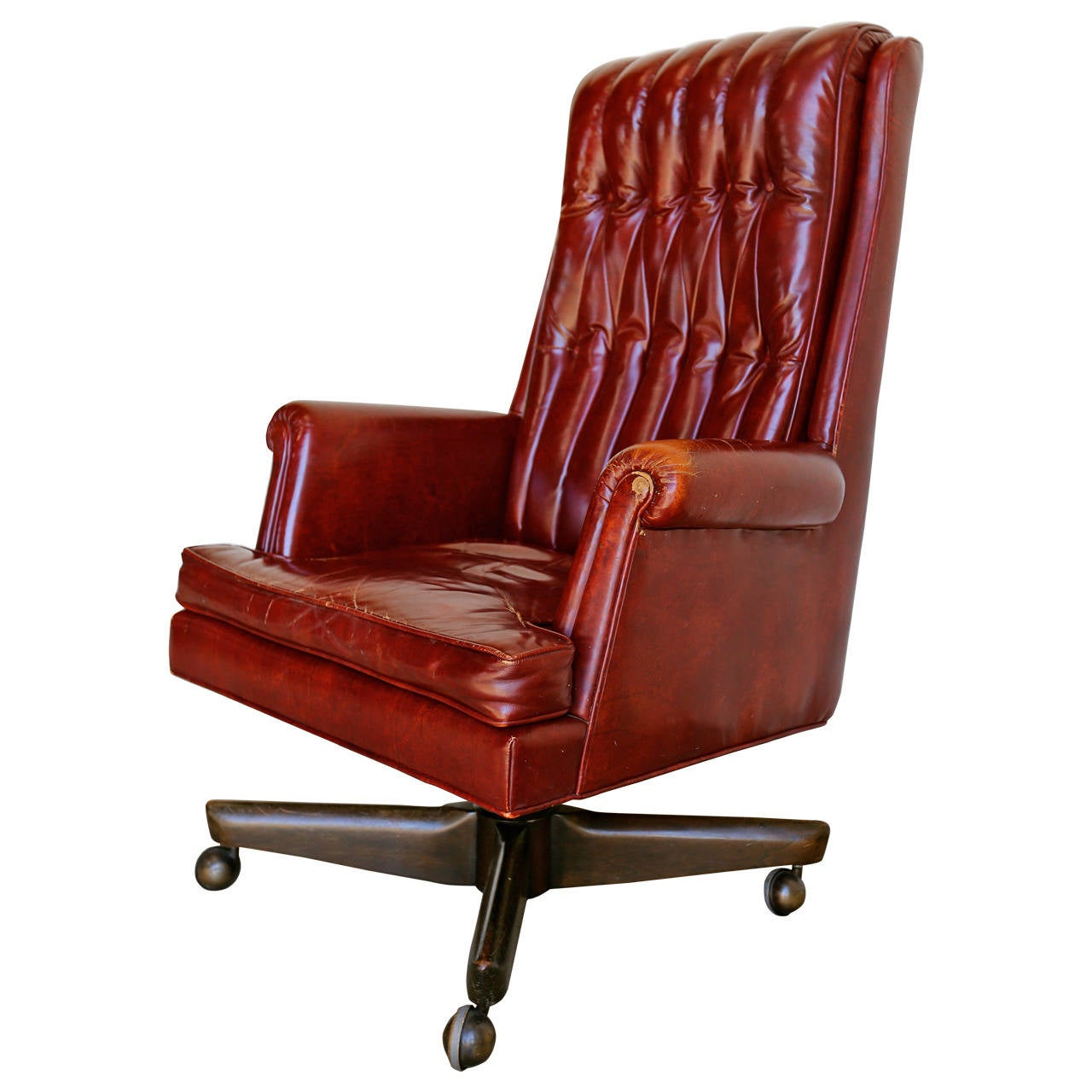 Distressed Leather Executive Desk Chair By Monteverdi