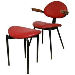 Carlo Mollino Chair and Matching Stool
