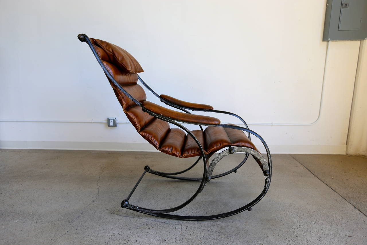 Sculptural Leather And Steel Rocking Chair At 1stdibs