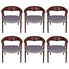 Set of Six Sculptural Dining Chairs by Erik Kirkegaard for Dux