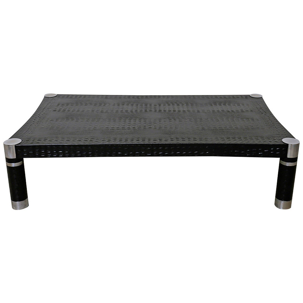 Alligator Embossed Leather Coffee Table By Karl Springer At 1stdibs