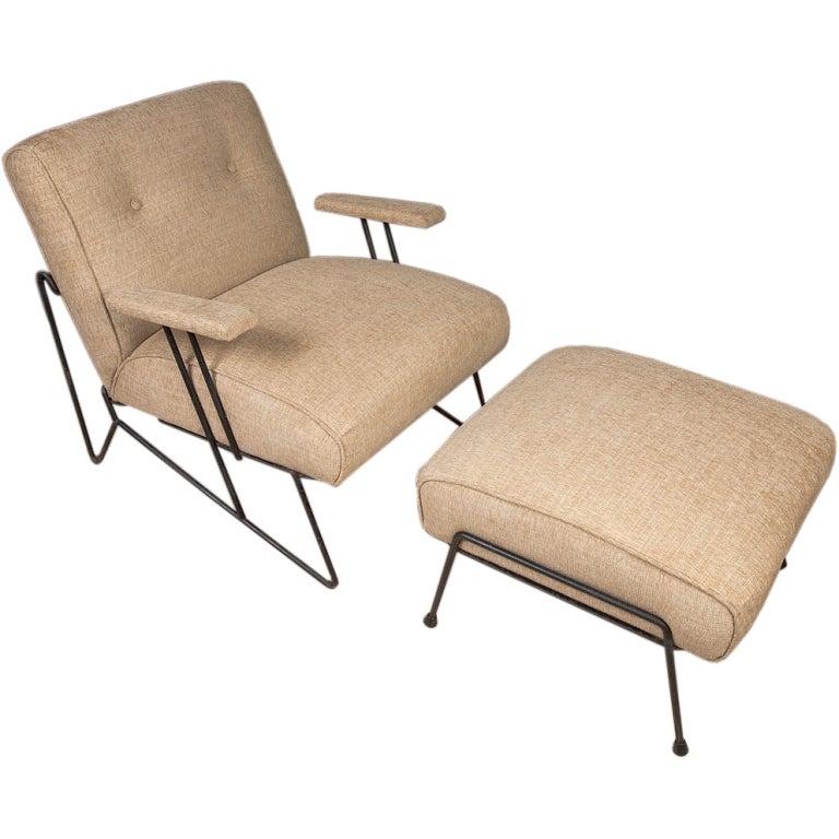 Mid century california modern iron lounge chair and - Mid century modern chair and ottoman ...