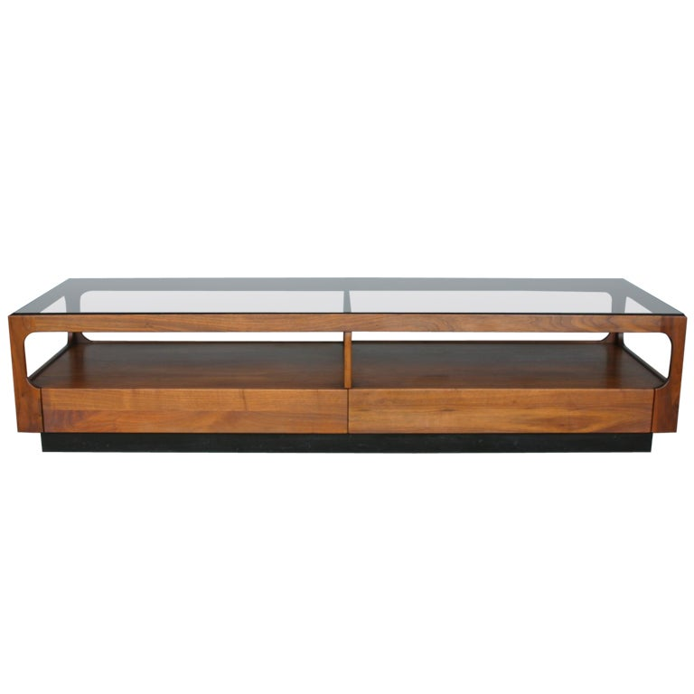 Walnut And Smoked Glass Coffee Table By John Keal At 1stdibs