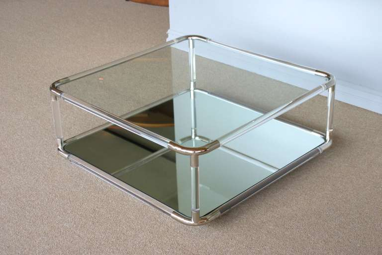 Mirror Coffee Table : Square Lucite and Mirror Coffee Table at 1stdibs