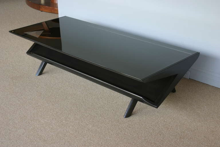 Ebonized And Smoked Glass Coffee Table By John Keal At 1stdibs