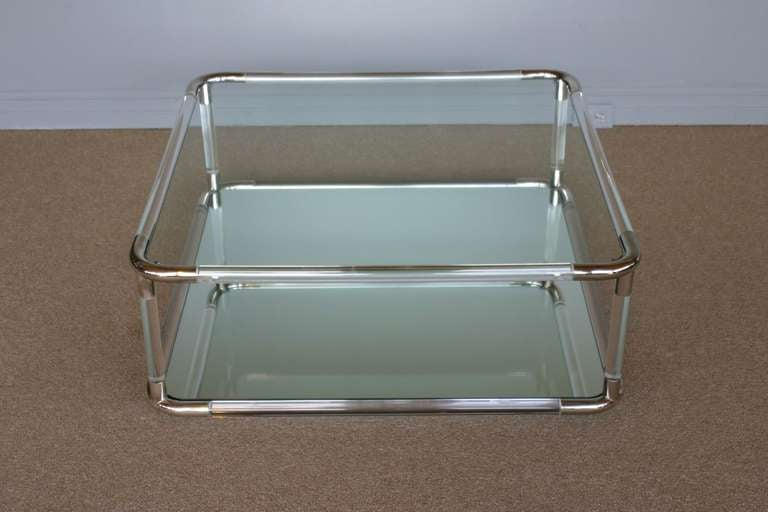 Square Lucite And Mirror Coffee Table At 1stdibs