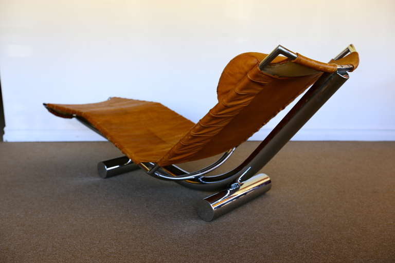 Leather and chrome chariot chaise lounge by paul tuttle at 1stdibs - Chariot chaise pliante ...