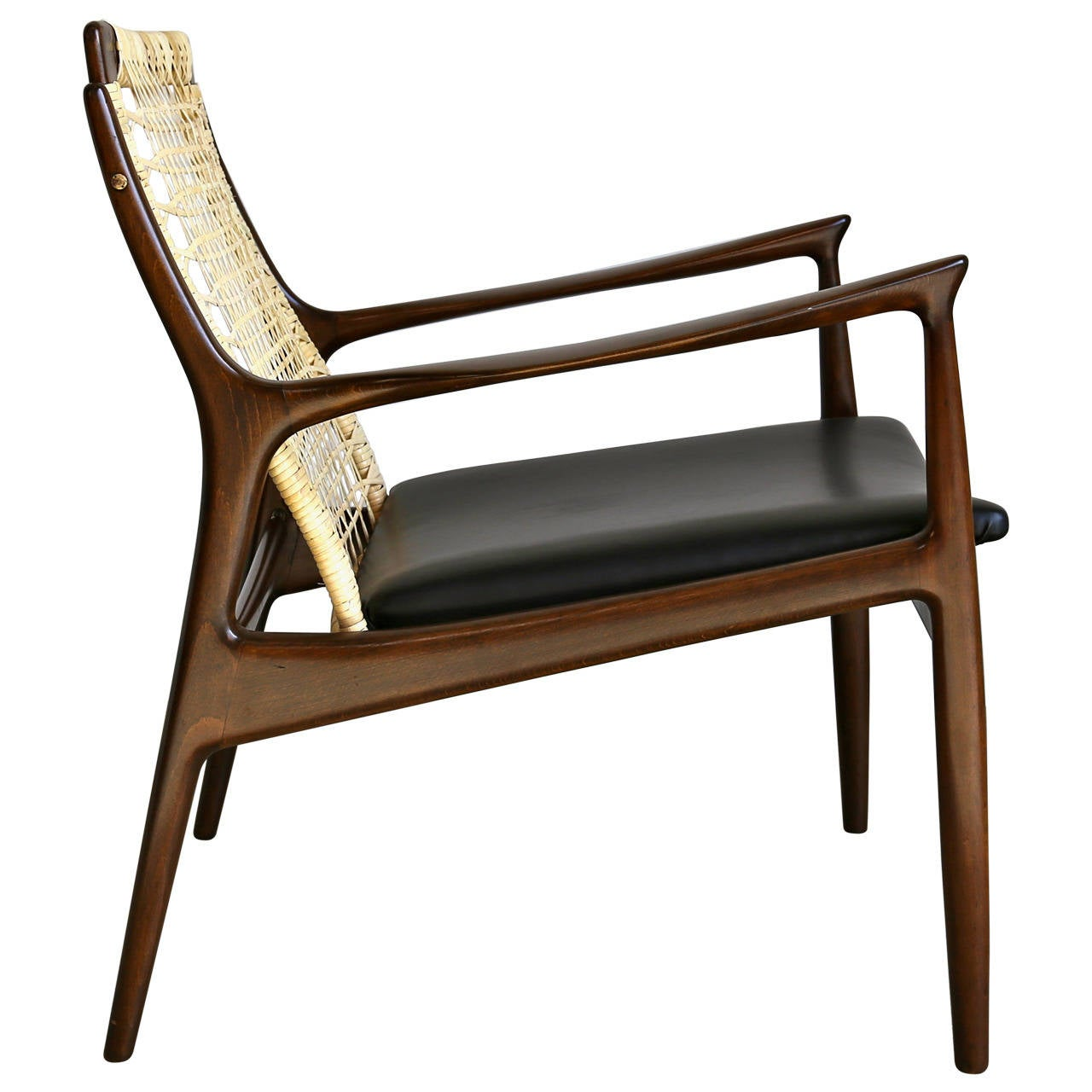 Caned Lounge Chair by Ib Kofod Larsen for Selig of Denmark at 1stdibs