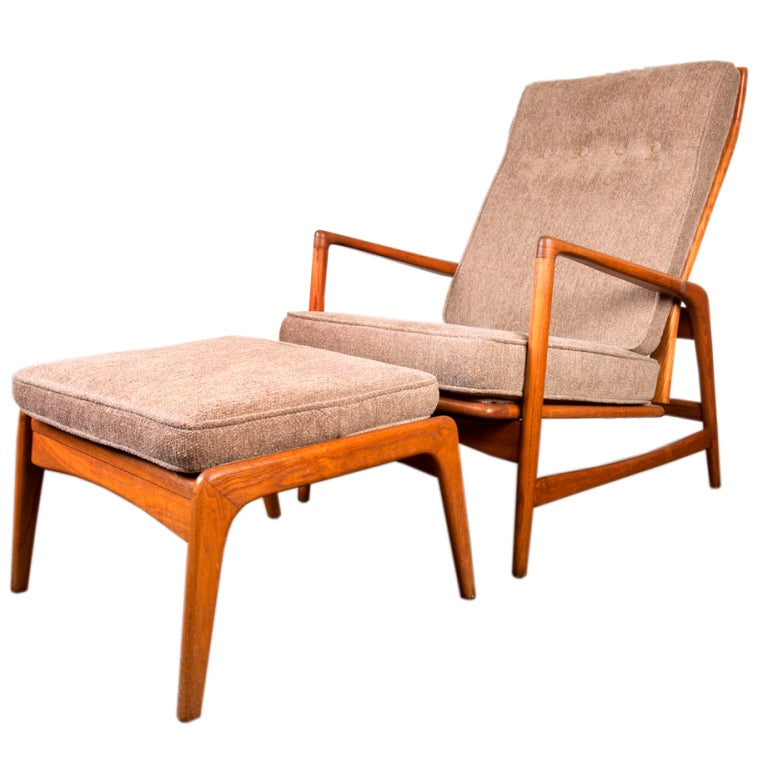 Reclining lounge chair and ottoman by Kofod Larsen for Selig at 1stdibs