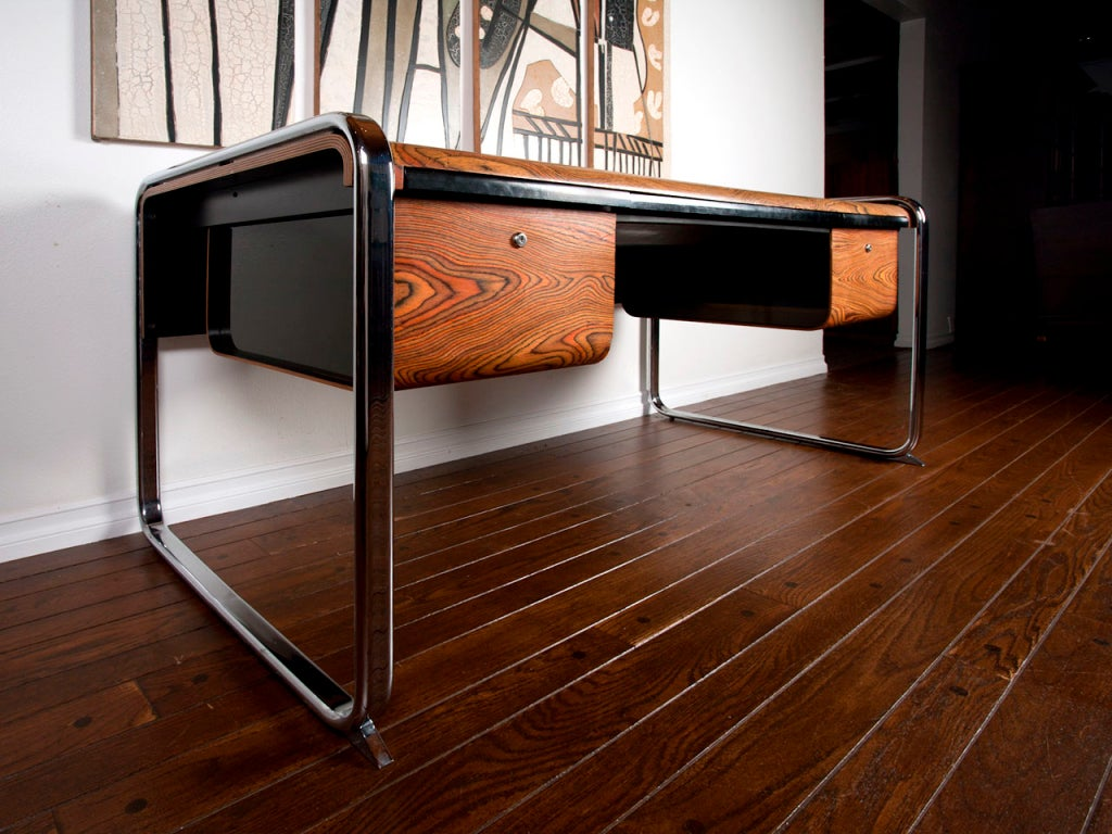 Zebra Wood Desk By Peter Protzman For Herman Miller At 1stdibs