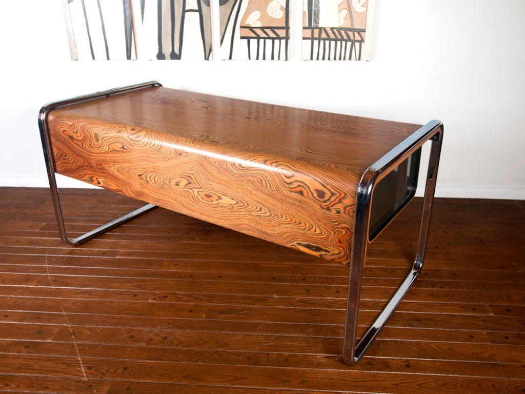 Zebra Wood Desk By Peter Protzman For Herman Miller At 1stdibs