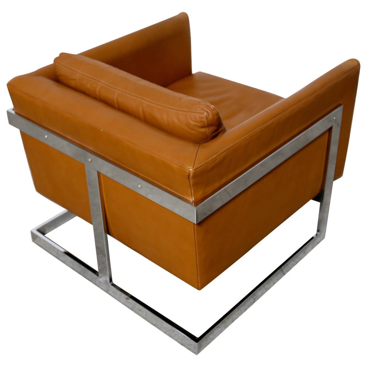 "Original Leather ""Cube"" Chair by Milo Baughman For Sale at"