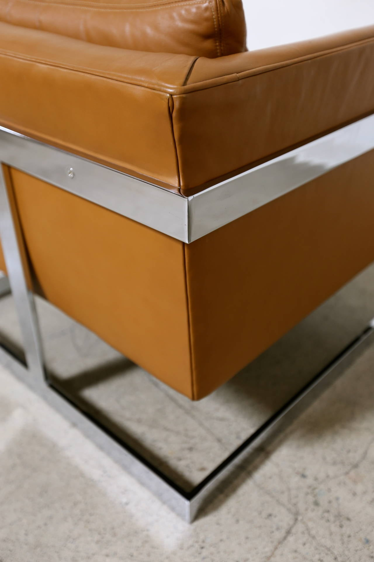"Original Leather ""Cube"" Chair by Milo Baughman For Sale at 1stdibs"