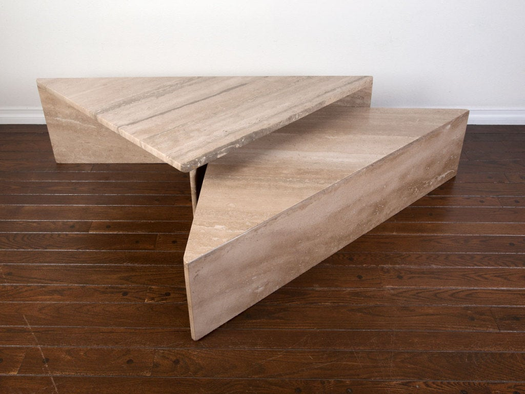 Two piece italian travertine coffee table at 1stdibs two piece italian travertine coffee table 3 geotapseo Image collections