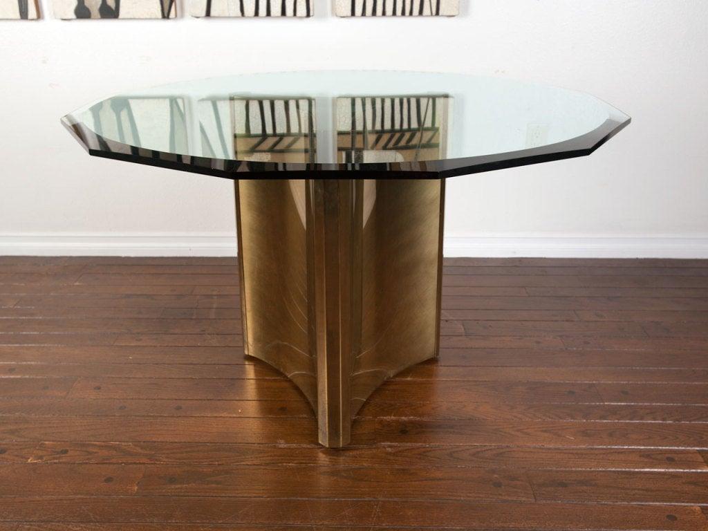Mastercraft Brass Pedestal Dining Table W Glass Top At 1stdibs