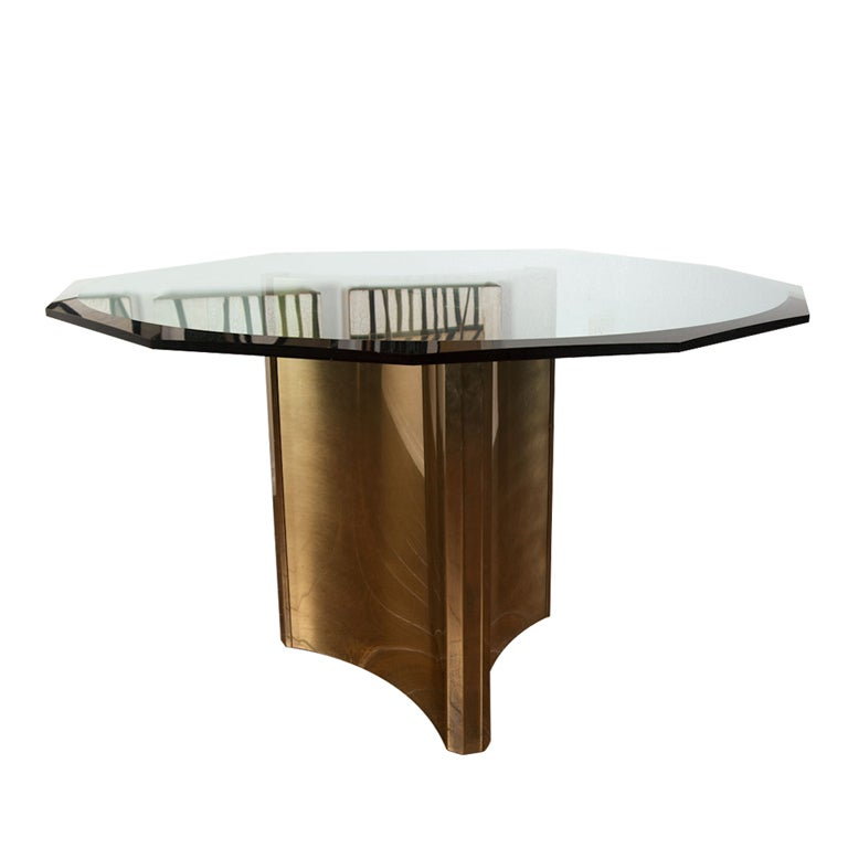 Mastercraft Brass Pedestal Dining Table W Glass Top