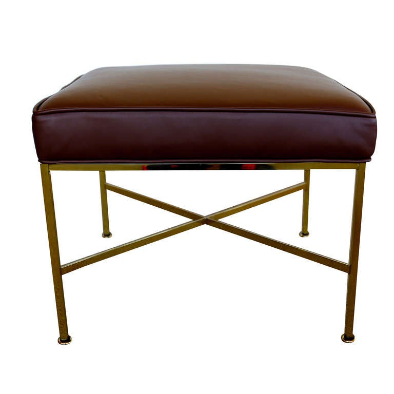 Brass and Leather Stool By Paul McCobb for Directional at