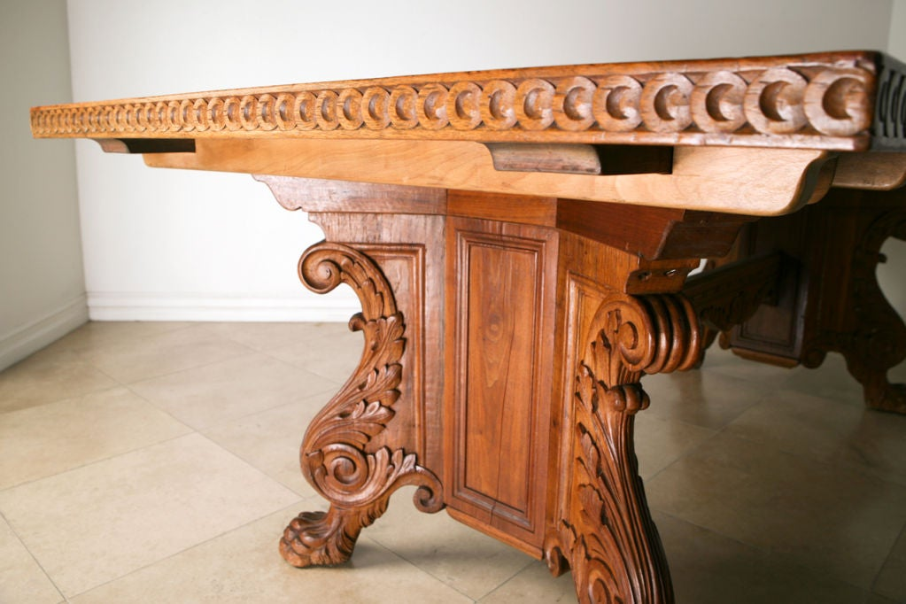 Antique Hand Carved Solid Walnut Dining Table By Marshall Laird Image