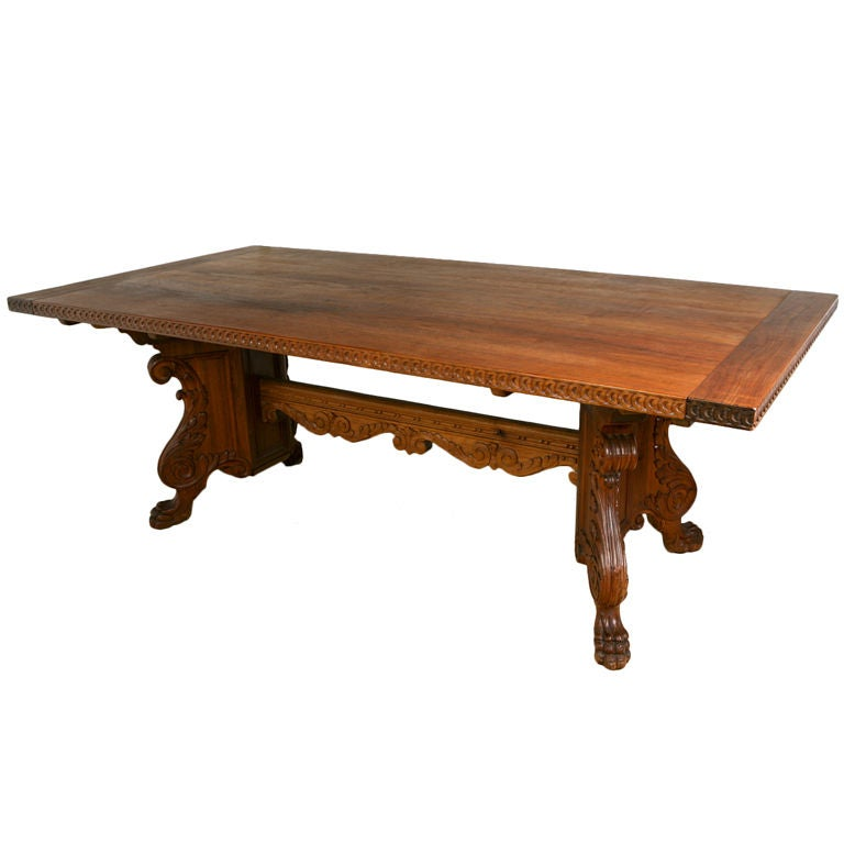 Antique Hand Carved Solid Walnut Dining Table by Marshall  : XXX922013254600201 from www.1stdibs.com size 768 x 768 jpeg 34kB