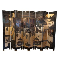 Eight panel Chinese coromandel screen