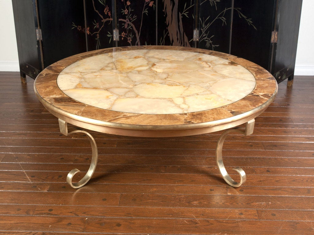 onyx and brass round coffee table by muller of mexico at 1stdibs. Black Bedroom Furniture Sets. Home Design Ideas