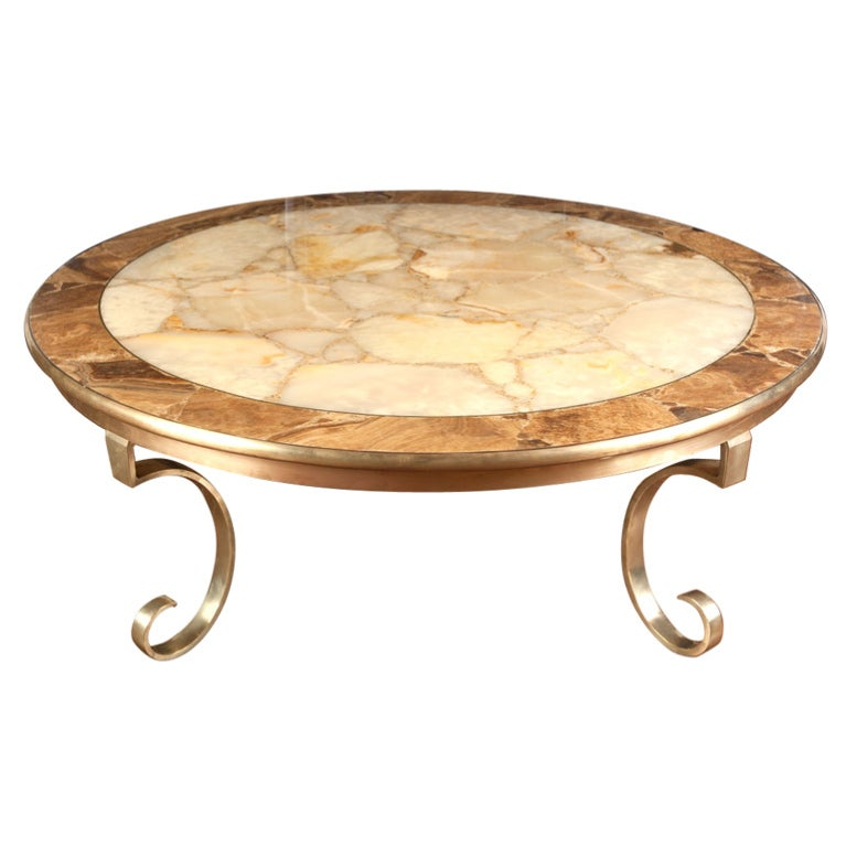 Onyx and brass round coffee table by muller of mexico at 1stdibs Brass round coffee table