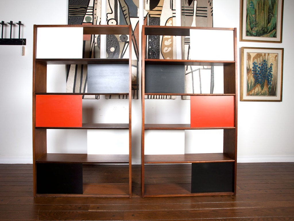 Bookcase room divider by evans clark for glenn of california at 1stdibs - Bookshelves as room divider ...