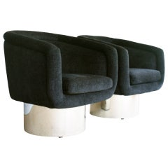 Pair of swivel tub chairs by Leon Rosen for Pace Collection