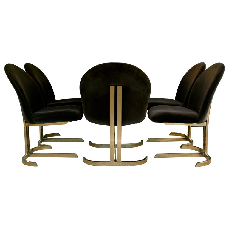 Set Of Six Cantilevered Brass Dining Chairs Att: Pierre Cardin  1