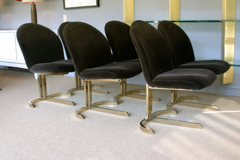 Set Of Six Cantilevered Brass Dining Chairs Att: Pierre Cardin  2
