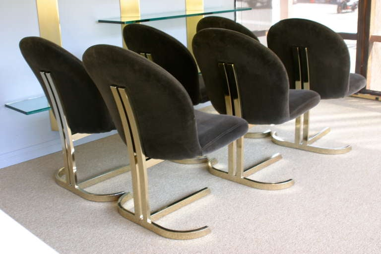 Set Of Six Cantilevered Brass Dining Chairs Att: Pierre Cardin  3