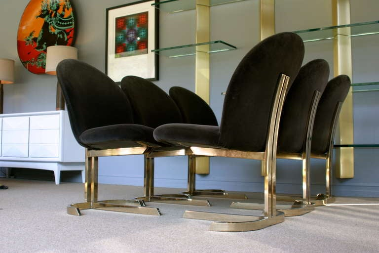 Set Of Six Cantilevered Brass Dining Chairs Att: Pierre Cardin  5