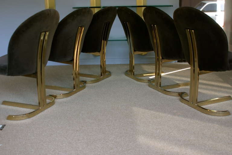 Set Of Six Cantilevered Brass Dining Chairs Att: Pierre Cardin  6