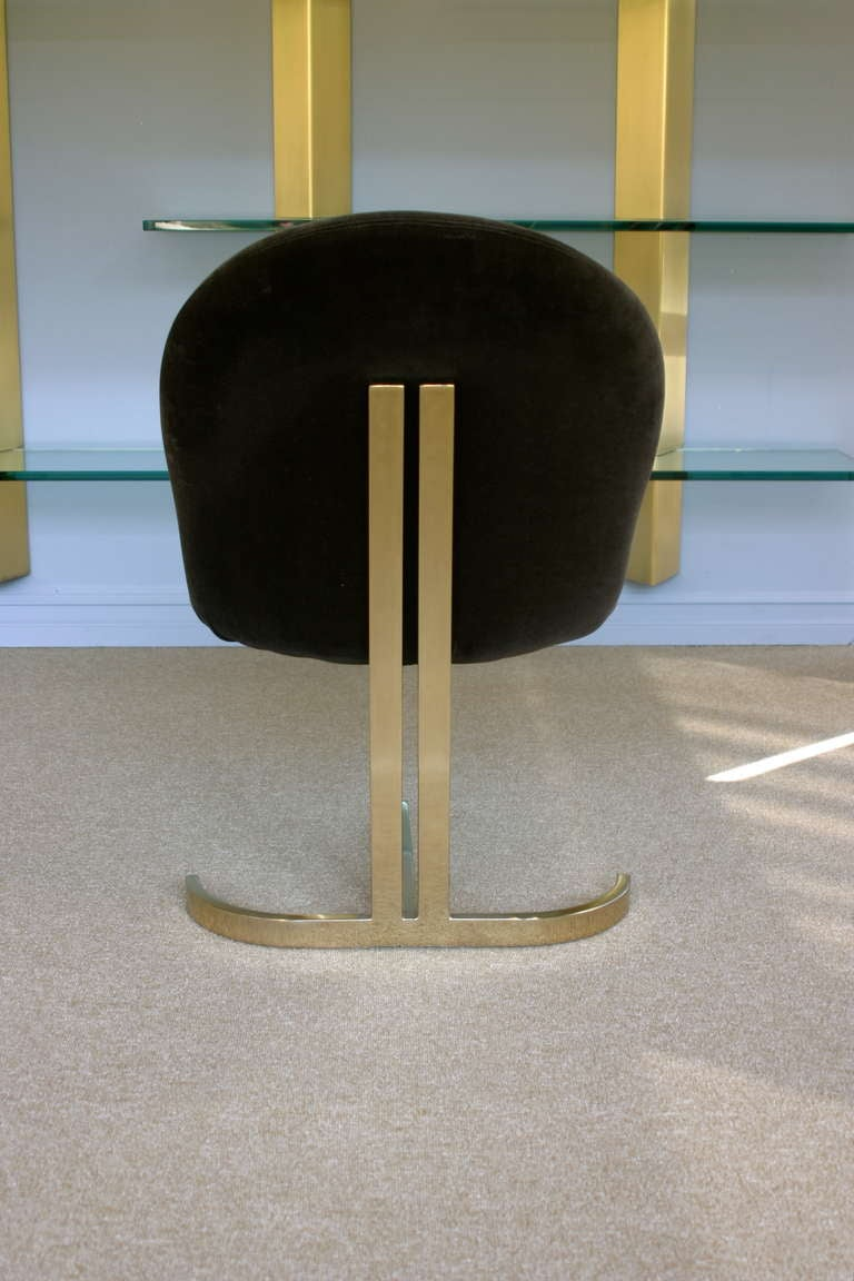 Set Of Six Cantilevered Brass Dining Chairs Att: Pierre Cardin  7