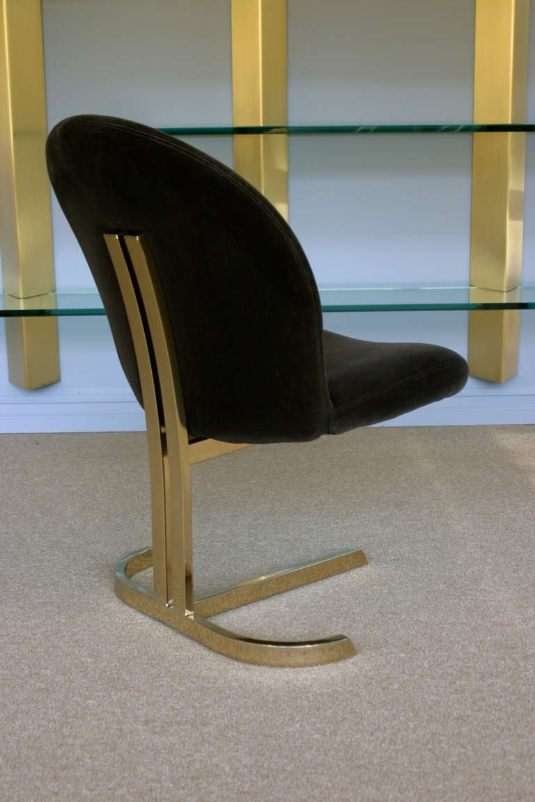 Set Of Six Cantilevered Brass Dining Chairs Att: Pierre Cardin  8