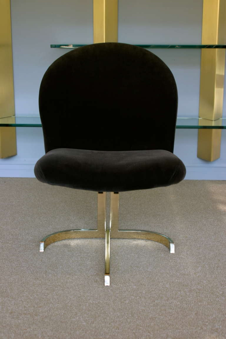 Set Of Six Cantilevered Brass Dining Chairs Att: Pierre Cardin  10
