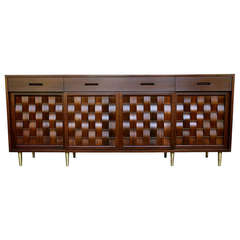 Rosewood and Walnut Basket Weave Credenza by Edward Wormley for Dunbar
