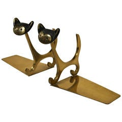 """Pair of Brass """"Cat"""" Bookends by Walter Bosse"""