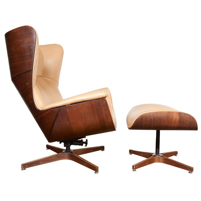 Marvelous Bent Wood Lounge Chair And Ottoman Designed By George Mulhauser 1