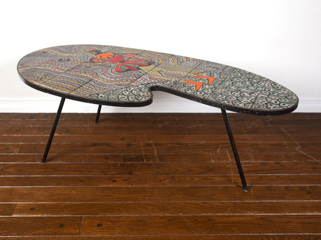 vallauris france tile top coffee table at 1stdibs. Black Bedroom Furniture Sets. Home Design Ideas