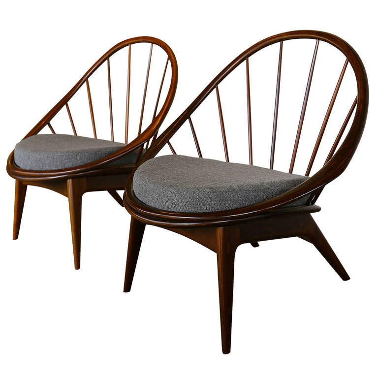 """Pair of Spindle Back """" Peacock """" Chairs by Kofod-Larsen"""