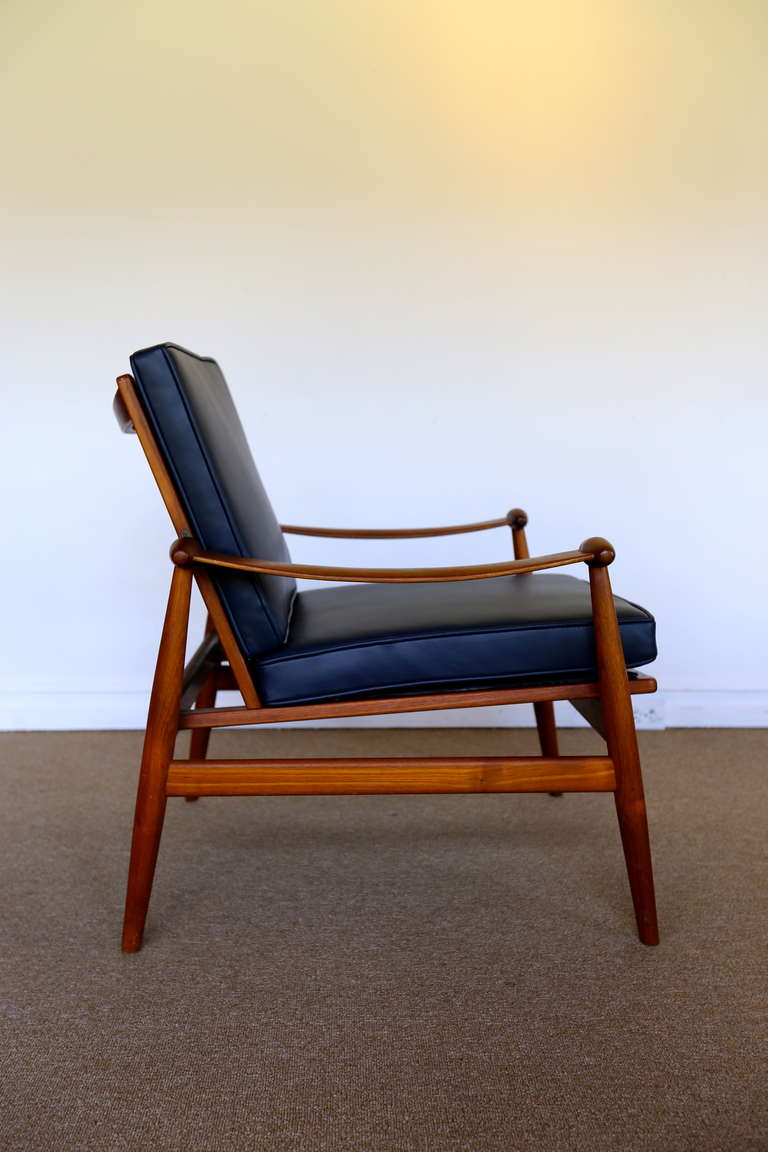 Lovely Mid Century Modern Leather And Teak Lounge Chair By Finn Juhl For France U0026  Sons