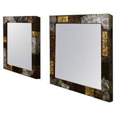 Pair of Brutalist Mirrors by Paul Evans