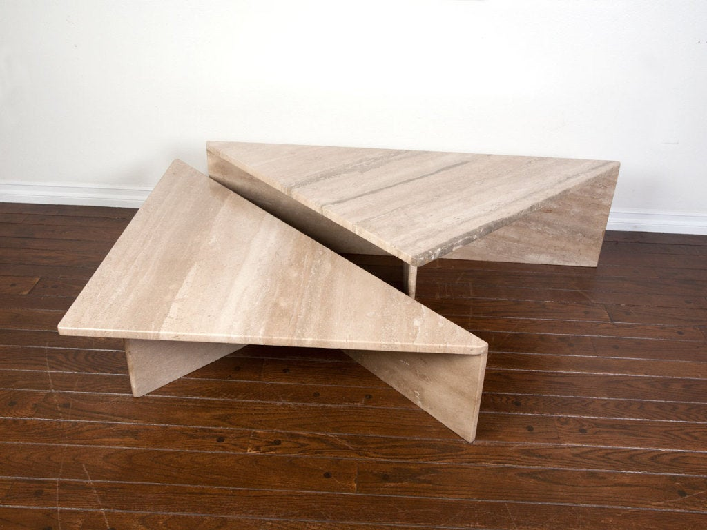 Two Piece Italian Travertine Coffee Table At 1stdibs
