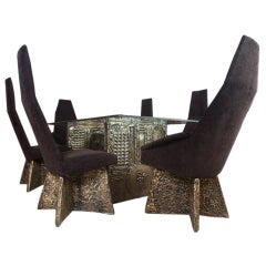 Brutal dining table and 6 chairs by Adrian Pearsall
